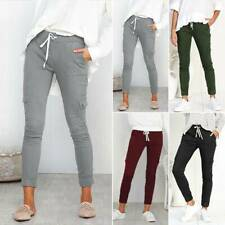 Womens Fashion Drawstring Elastic Waist Pants Slim Casual Cargo Pockets Trousers