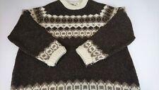 Vintage Highland Craft XL Brown Pure Wool Fair Isle Crewneck Sweater Scotland F2