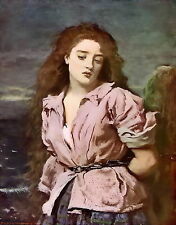Antique MILLAIS Old Vintage Art Print Scottish Woman Wigtown Firth MARTYR SOLWAY
