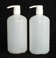 2 pack 32 oz Plastic Natural Boston Bottles w/ White Smooth 4 cc Pumps Many Uses