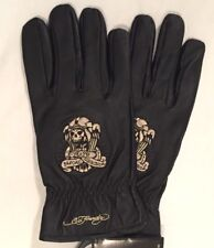 NEW LG Don Ed Hardy Men's Black Leather Gloves Death Before Dishonor Embroidery