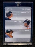2012 Leaf Rize Triple 1/1 Top Prospects Christian Yelich Rc Blank Back