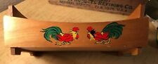 Vintage 1950's Era Wooden Serving Tray W/ Handles Fighting Roosters Decals