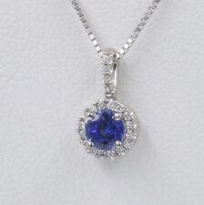 Vintage Estate Sapphire and Diamond Pendant Necklace, 14K White Gold, 0.75 pts.