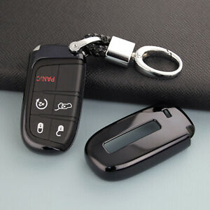 For Jeep Dodge Chrysler Accessories Black Car Key Fob Chain Ring Cover Case Cap