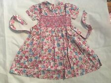 Girls Hand Embroided Short Sleeves Multi-coloured Flowers Dress Size 18M (A5)