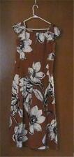 Vintage MALIA Hawaiian Brown Classic Party Long Maxi Dress Sundress Muumuu EUC