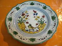 Piatto Ceramica Deruta, Italy Dec.Fiori, Foglie, Uccello d 21cm h 2,50cm