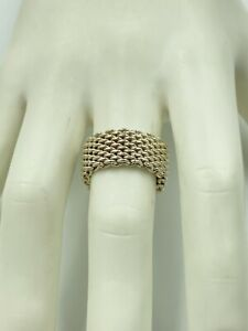 Authentic T & Co Tiffany Somerset 925 Sterling Silver Mesh LOVE Ring Size 7 1/2