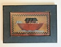 CAROUSEL UNLIMITED Noah's Ark Gray Wood Framed Folk Art Primitive Picture 8x11