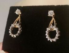 14K Two-tone Diamond Dangle Jackets for your Stud Earrings. NICE!