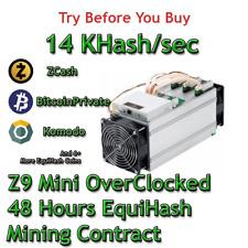 Z9 Mini OC 14 KSol/sec Guaranteed 48 Hours Mining Contract Equihash (Zcash)