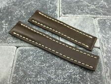 20mm Calf Leather Strap Brown Deployment Watch Band BREITLING NAVITIMER 20