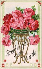 Greetings from Platte MO Missouri SD South Dakota Roses Floral Flowers Postcard