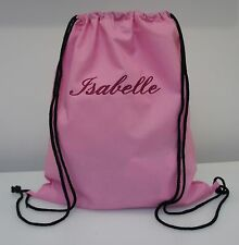 Personalised Embroidered NAME Large Cotton Drawstring Bag School PE Gym Backpack
