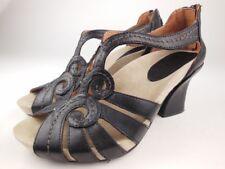 EARTHIES Domingo Black Leather Heeled Sandals Women's Size 7 B