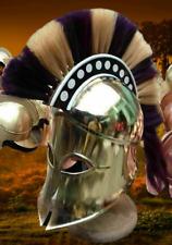 Greek Corinthian Armour Helmet Black & White Plume Knight Spartan Helmet replica