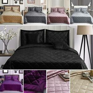 5 PCS LUXURIOUS CRUSHED VELVET QUILTED BEDSPREAD COMFORTER