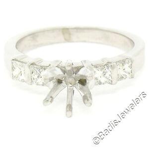 Platinum Engagement Ring Semi Mount Setting w/ 0.56ctw Bar Set Princess Diamonds