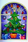Stained Glass Window Cling Sticker Snowman Santa Tree Christmas Decoration Xmas