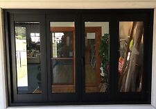 ALUMINIUM BIFOLD DOORS 4 PANEL, NEW 2950 x 2100h, BLACK, IN STOCK