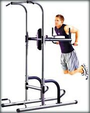 Body Weight Dip Machine Gym Power Tower w Push-Up, Pull-Up New