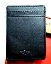 DOCKERS Leather Magnetic Black Money Clip Card Case Wallet NWT