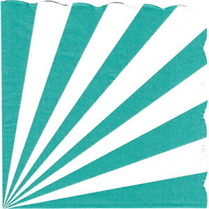 TEAL WHITE CANDY STRIPE SCALLOPED LARGE PAPER NAPKINS PACK OF 16 PARTY SUPPLIES