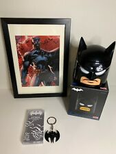 DC Comics Loot Crate BATMAN Bundle Lot Framed Poster Key Chain & Food Container
