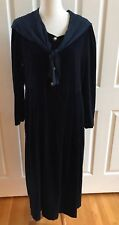 True Vintage Laura Ashley Velvet Dress Scarf Neck Midnight Blue Size 12