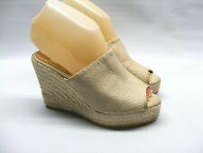 Kanna Women's Size 35 Beige Tan Casual Espadrille Wedge Heels Mules Slides Shoes