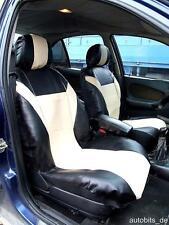 2x Leder Sitzbezüge Schonbezüge Beige für Opel Peugeot Renault Seat Skoda