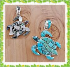 GENUINE TURQUOISE PAUA MOP SHELL & OPAL CHANNEL INLAY .925 SILVER TUTLE PENDANT