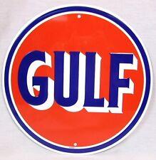 GULF OIL SERVICE STATION GASOLINE GAS PUMP ROUND METAL TIN SIGN MAN CAVE GARAGE