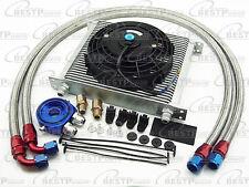 "Universal Silver 30 Row Transmission 10AN Oil Cooler + 7"" Electric Fan Kit Honda"