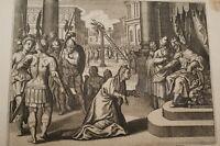 GRAVURE SUR CUIVRE PUNITION D'AMAN-BIBLE 1670 LEMAISTRE DE SACY (B141)