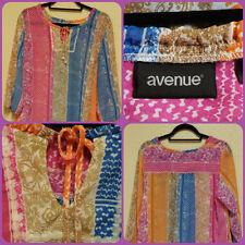 Avenue Women's Plus Size Blouse 2X Multi-Color Boho Sheer Pullover Tunic Top