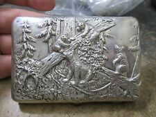 SUPER RARE HAND CHASED RUSSIAN HALLMARKED SILVER CIGARETTE CASE BEARS & WOODS