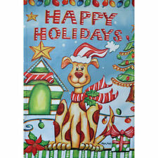 """Happy Holidays"" Smiling Dog, Tree, Ornaments,Small Garden Flag 12.5"" X 18"""