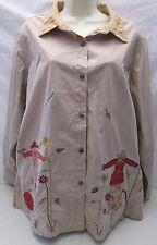 Bobbie Brooks 22W 24W Tan Fall Scarecrow Blouse Button Shirt Top Long Sleeve