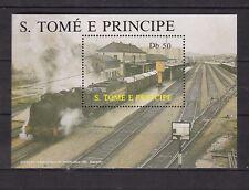 Sao Tome and Principe : Locomotives 1987 ( Pamplona Station ) Minisheet MNH