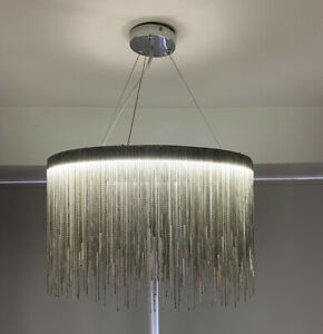 Quality Large Silver Waterfall LED Pendant Light Ceiling Lamp with Matching Base