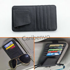 PU Leather Car Truck Sun Visor Sealing 5 Card Pocket Glasses Case Storage Holder