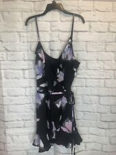NEW w/tag BEBE Floral Print Ruffle Wrap Mini Dress Womens XL Spaghetti Strap 61e