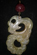 """Antique Chinese Nephrite Hetian White Jade Dragon Pendant h.carved w/ruby. 3"""" L"""