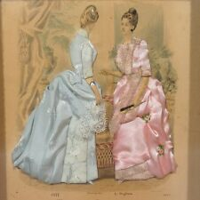 Shadowbox Vintage Fabric Dresses, Signed, Antique French Fashion Print, 1888