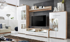 SALLY 3 -  WHITE SCANDINAVIAN STYLE TV WALL UNIT WITH LED LIGHTS, FAST DELIVERY