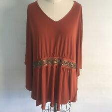 NWT Susan Graver QVC Rust Sequin Batwing Knit Top Plus Sz 2X