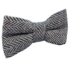 New Luxury Mens Herringbone Grey Woven Bow Tie Solid Knitted Flecked Tweed Wool