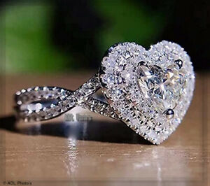 925 Sterling Silver Heart Shaped Engagement Wedding Ring CZ